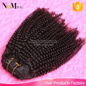 120g Set Virgin Peruvian Human Hair Afro Kinky Curly Clip in Human Hair Extensions for Black Woman pictures & photos