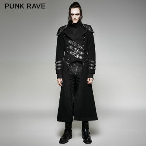 Y-708 Gothic Men Winter Double Zipper Military Wool Armour Rivet Jacke Long Coat
