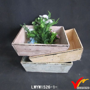 Stackable Handmade Vintage Wood Planter Box with Handle pictures & photos
