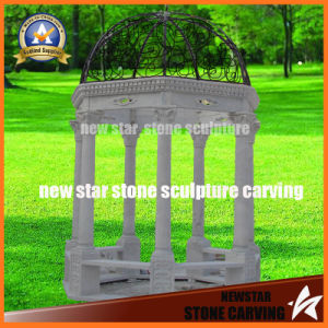 Small White Marble Gazebo in Garden Decoration pictures & photos