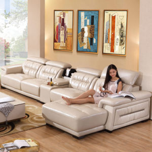 New Arrival L Shape Sectional Combination Genuine Leather Sofa (8019)