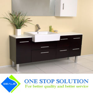 Chocolate Color Lacquer Finish Bathroom Cabinet