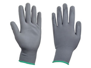 Grey Polyester Liner PU Glove