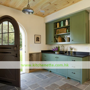 Antique Kitchenette Vintage Green Finish Kitchen Cabinets (WH D018)