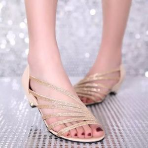 Sandals Female Summer Style European and American Fashion Elegant Sequins Fish Mouth Slope with Soft Face Women′s Shoes pictures & photos