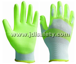 White/Hi Viz Yellow Nylon Work Glove with PU Palm Coated (PN8115) pictures & photos