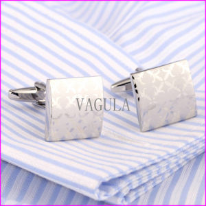2016 Fashion Silver Laser Cufflink Square Gemelos pictures & photos