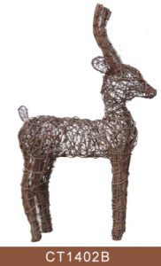 Natural Rattan Deer Shaped Christmas Decoration