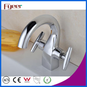 Fyeer Chrome Plated Crooked Long Spout Dual Handle Deck Mounted Basin Sink Faucet Water Mixer Tap Wasserhahn pictures & photos