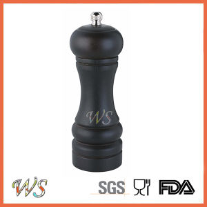 Ws-Pg017 Wooden Salt and Pepper Mill Black Color Spice Grinder Manual Salt and Pepper Grinder