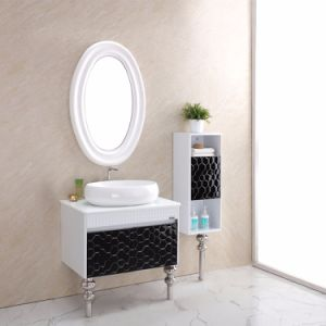 Special Design Black and White Color Stainless Steel Bathroom Vanity with Legs pictures & photos