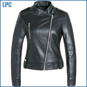 Black Warm Modern Motorcycle Jackets for Women pictures & photos