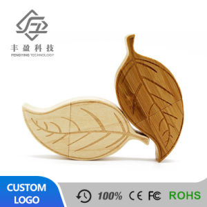 Leaf Shape Bamboo Wood USB Flash Drive with Wooden Box