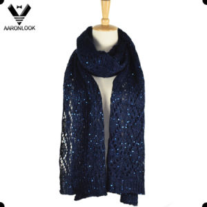 Women Jacquard Knit Shiny Sequins Yarn Scarf
