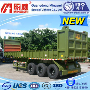 38cbm/10m/CCC/ISO/ 3 Axles Box-Type-Low-Wall Tipper Semi Trailer