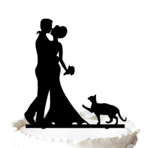 China Bride and Groom with Cat Silhouette Wedding Cake Topper
