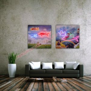 2PCS Sets Optical Fiber (NOT LED) Luminous Painting Modern Home Decoration Painting with Remote Controller