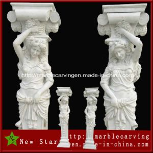 Hand Carved Garden Decorative Natural Stone Column of Girl Statue pictures & photos