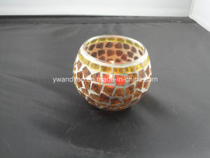 Yellow Mosaic Tealight Candle Holder
