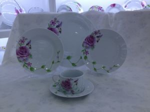Colored Decal Round Porcelain Dinnerware