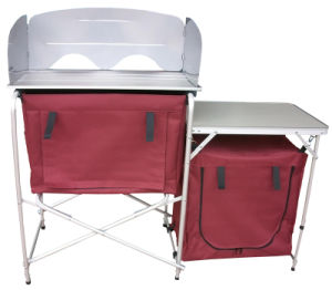 Aluminum Quality Folding Deluxe Portable Fold-up Camp Kitchen with Windscreen (QRJ-T-003C)