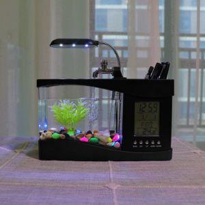 China Mini Usb Lcd Desktop Lamp Fish Tank Aquarium Led Clock With 6 Modes Of Tranquil Nature Sounds China Fish Tank And Aquarium Price