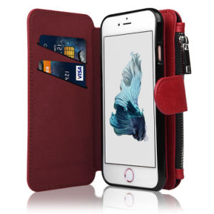 [Zipper Cash Storage] Premium Flip PU Leather Wallet Case Cover with Detachable Magnetic Hard Case for iPhone 6s Plus