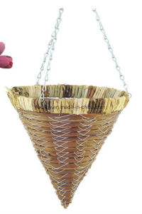 Rattan Cone Shaped Hanging Planter for Decoration