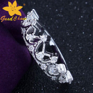 Stsr-16113017 Crown Gem-Set Ladies Sterling Silver Rings