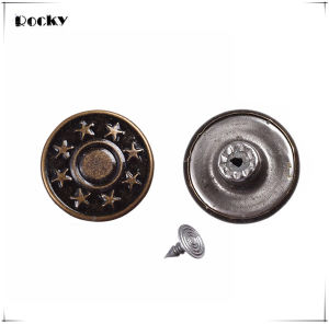 17mm Star Pattern Metal Buttons Bronze Jeans Button