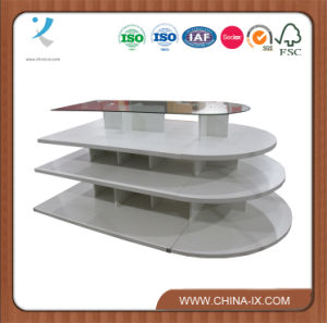 4 Tier White Wooden Shelf Melamine Oval Display Table pictures & photos