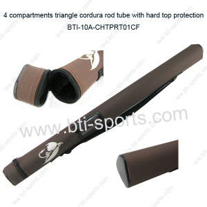 Hard Fly Fishing Rod Tube Rod Case 4 Compartments with Carry Straps