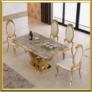 Whole Modern Gold Stainless Steel Dining Room Furniture White Marble Top Table With Royal