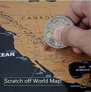 China Travel Tracker World Map Poster Original Landmass Scratch Off