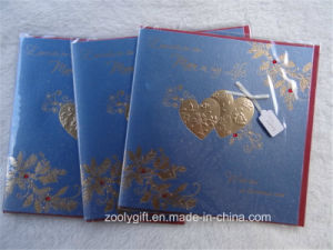Heart Gold Stamping Ivory Board Hand-Made Greeting Gift Cards with Red Envelop pictures & photos
