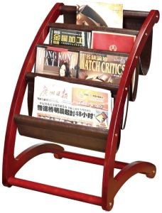 Solid Wooden Imformation Rack with PU Leather Holders (J-55A) pictures & photos