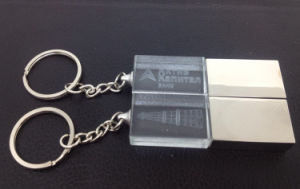 Custom 4GB 8GB 16 GB Engraved 3D Logo Crystal USB Flash with Key Chain pictures & photos
