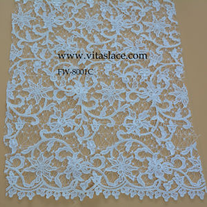 White Polyester Water Soluble Lace Fabric for Lady Garments Fw8001c