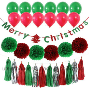 Umiss Christmas Decorations Party Supply with Paper Banner POM Poms Tassels