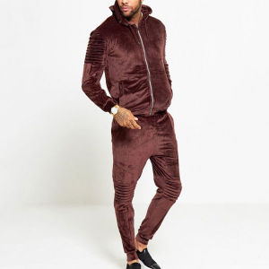 China Velour Track Suit Men Slim Fit Ribbed Details Plain Tracksuit Wholesale China Tracksuit And Track Pants Price