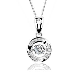 Simple Classic Stone Pendant Round Cubic Zirconia 925 Sterling Silver