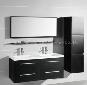 Black and Ivory White Melamine Cabinet with Side Vaniy in Bathroom pictures & photos