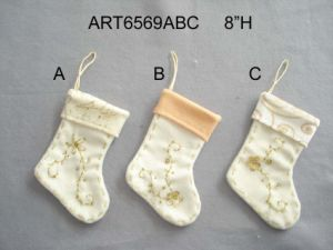 hand embroidered christmas stocking decoration 3asst