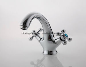 New Chromed Brass Double Handle Restroom Wash Basin Faucet pictures & photos
