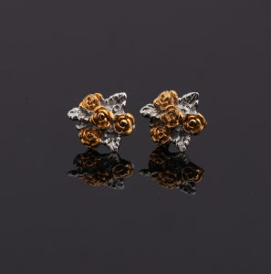 Hot Sale Factory Price Stainless Steel Fashion Flower Gold Earrings pictures & photos