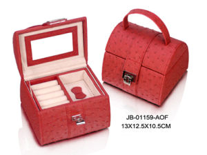Promotion Gift Fashion Red Ostrich Leather Jewelry Box