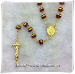 Red Glass Golden Edge Beads Rosary, Religious Rosary Beads, Rosaries (IO-cr388) pictures & photos