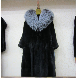 Hot Selling Imported Mink Fur Coat with Fox Fur Collar/a Popular in Russian for Women