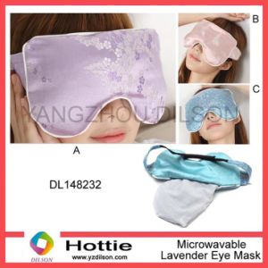 Lavender Satin Eye Mask for Sleeping Filled Flaxseeds, Eucalyptus and Mint