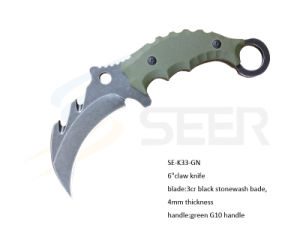 "6"" 3cr Steel Claw Knife with G10 Handle (SE-K33-GN) pictures & photos"